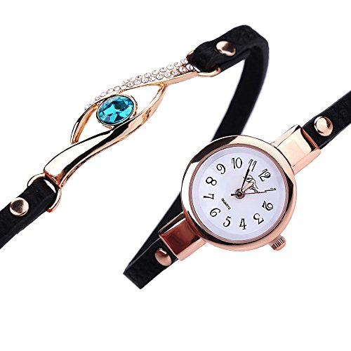 Axiba Women Diamond Wrap Around Bracelet Quartz Wristwatch Rhinestone Clock Ladies Dress Gift Watches (Black) ()
