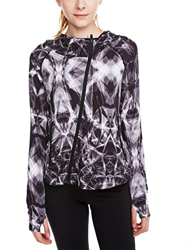 [icyzone Women's Super Lightweight Running Jacket Quick Dry Full Zip Hoodie (L, Lightning)] (Lightning Full Zip Hoodie)
