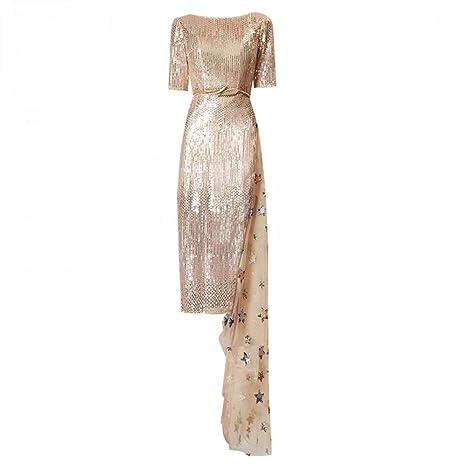 BINGQZ Mujeres Vestido Coctel Vestido de Dama Dorado Vestido de ...