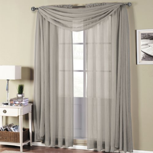 Abri Gray-Silver Rod Pocket Crushed Sheer Curtain Panel,50×96 inches, by Royal Hotel