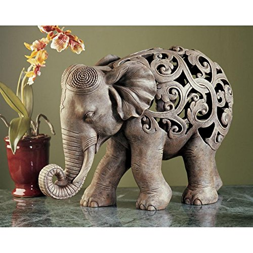 Figurine Elephant Stone (Design Toscano Anjan the Elephant Indian Decor Jali Animal Statue, 12 Inch, Polyresin, Brown Stone)