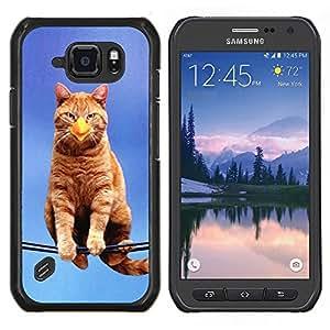 EJOOY---Cubierta de la caja de protección para la piel dura ** Samsung Galaxy S6Active Active G890A ** --Gato Pájaro Sentado Branch Ginge Amarillo Pico