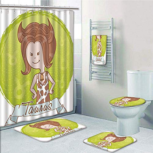 Caramel Apples Wisconsin - Bathroom Fashion 5 Piece Set shower curtain 3d print,Taurus,Cute Cartoon Little Girl Dressed Like Cow with Spots and Horns Image Decorative,Light Caramel Apple Green,Bath Mat,Bathroom Carpet Rug,Non-S
