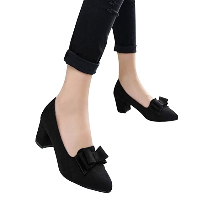571f10a2e5f Women's Comfortable Bow Point Toe Flat Pumps Slip On Low Heels Shoes by  Lowprofile