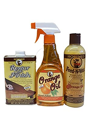 Howard Complete Wood Restoration Kit, Clean, Protect, and Restore Wood Finishes, Wood Floors, Kitchen Cabinets, Wood Furniture