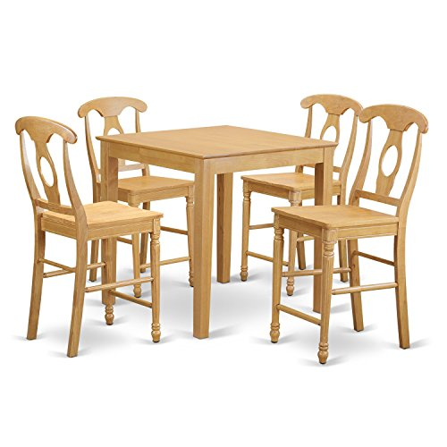 East West Furniture PBKE5-OAK-W 5 Piece Dining Table and 4 Bar Stools with Backs Set
