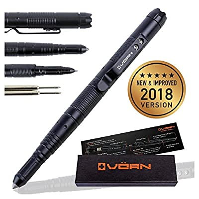 Tactical Pen For Self Defense with LED Flashlight + Glass Breaker + DNA Catcher + Belt Clip, Military Police Grade EDC Survival Multi Tool For Emergencies, 2 FREE Ink Refills + 6 Batteries, Gift Boxed by VÖRN Tactical