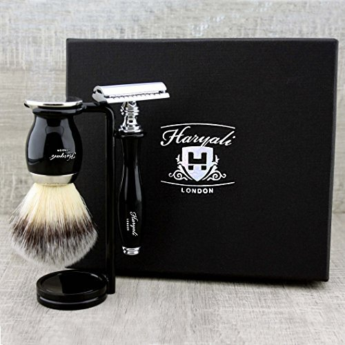 Men's Grooming Essentials: 3Pcs Shaving Set >Synthetic Brush, DE Safety (Blades NOT Included) & Dual Stand. Gift for Him by Haryali London