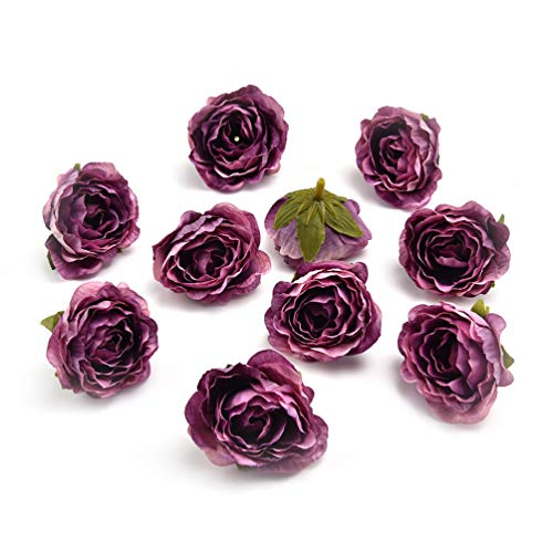 (Fake flower heads in bulk wholesale for Crafts Peony Flower Head Silk Rose DIY Scrapbooking Decorative Flower Heads Decor for Home Garden Wedding Birthday Party Decoration Supplies 30PCS 4cm (Purple))