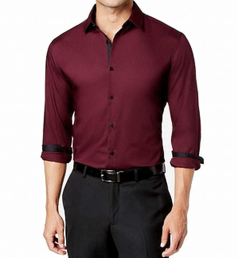 Alfani Mens Red Holden Solid Shirt