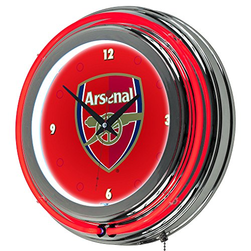 Trademark Gameroom EPL1400-ARS Premier League Chrome Double Rung Neon Clock - Arsenal by Trademark Gameroom