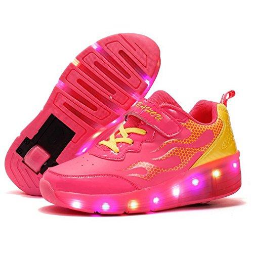Zosyns Skateboardschuhe Kinder Schuhe mit Rollen LED Schuhe Rollschuhe Turnschuhe Sportschuhe Laufschuhe Sneakers Trainer mit Rollen Licht Für Jungen Mädchen 28-39 Rosa