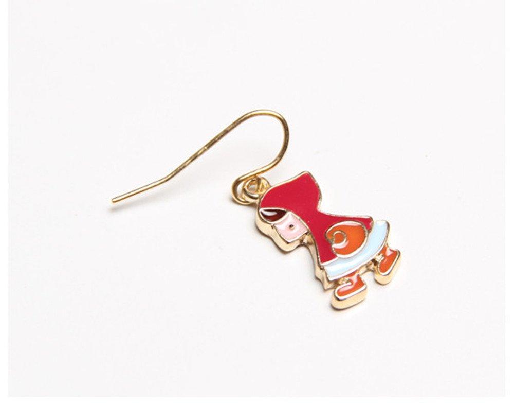 Nuwastone women\'s Flower & House & Little Red Riding Hood & Wolf Earring Set (Little Red Riding Hood)