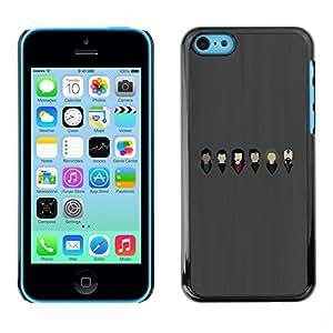 TopCaseStore / la caja del caucho duro de la cubierta de protección de la piel - Bust Music Band Artist Legend Of Grey - Apple iPhone 5C