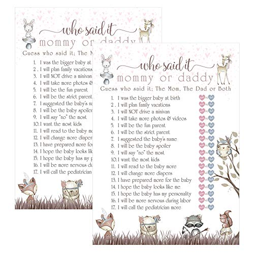 Mommy or Daddy Baby Shower Games (Set of 25) Guessing Activity Cards - Cute Woodland Friend Theme ()