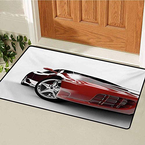 (GUUVOR Teen Room Front Door mat Carpet Modern Automotive Vivid Toned Car Back View Prestige Passion Artistic Image Machine Washable Door mat W35.4 x L47.2 Inch Black and Ruby)