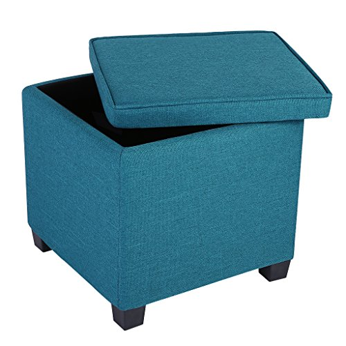 LANGRIA Square Linen Upholstered Storage Ottoman Footstools and Spare Seats with 4 Sturdy Legs, Teal