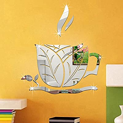 ufengke® 3D Coffee Cup Leaves Mirror Effect Wall Stickers Fashion Design Art Decals Home Decoration