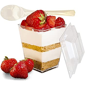 Mr.Foodie 30 Pack Dessert cups with lids and spoons - 5 oz Mini Clear Plastic Parfait Cups