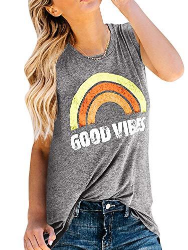 Sherrylily Womens Summer Graphic Printed Tank Tops Sleeveless Crewneck Tunic Tops T-Shirts (XX-Large, Light ()