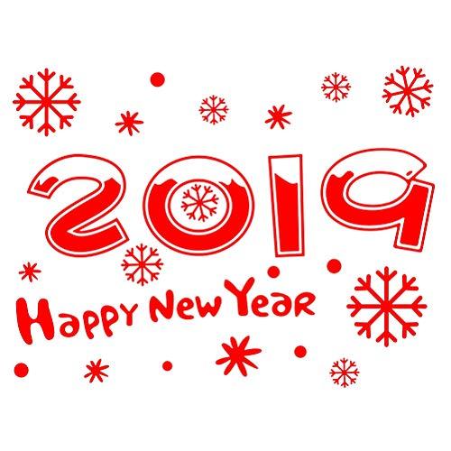 BESTOYARD Vinilo de Navidad para Ventana de 2019 New Year y Copo de Nieve Pegatinas de Navidad Adornos para Ventanas Pared...