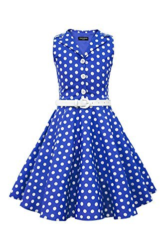 BlackButterfly Kids 'Holly' Vintage Polka Dot 50's Girls Dress (Royal Blue, 7-8 -