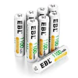 EBL 8 Pack AAA Rechargeable Batteries 1100mAh High Capacity Ni-MH 1200 Cycles(Battery Case Included)