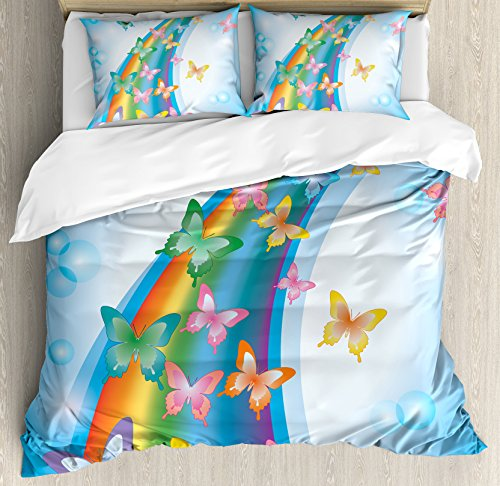 Ambesonne Butterflies Duvet Cover Set Queen Size, Colorful Background with Rainbow Butterflies Bubbles Fairy Cheerful Graphic Print, Decorative 3 Piece Bedding Set with 2 Pillow Shams, Multi