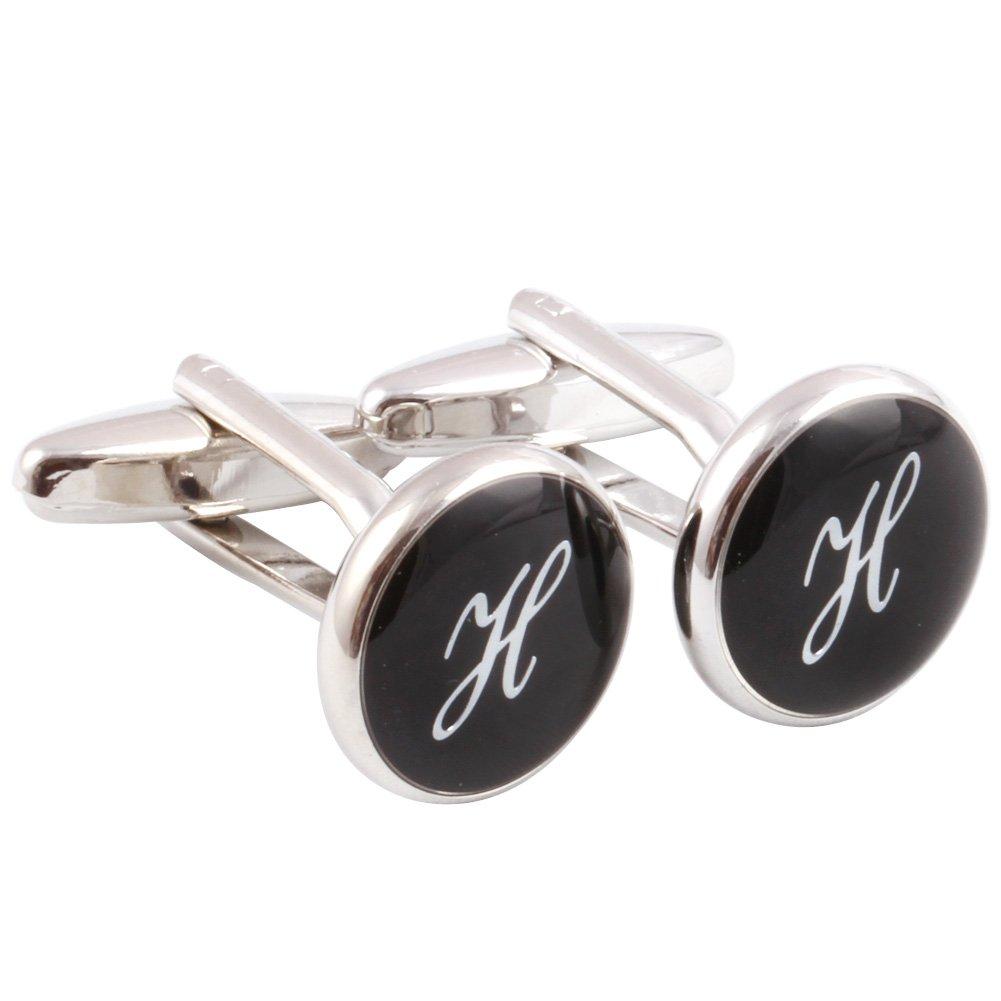 HJ Men's 2PCS Rhodium Plated Cufflinks Silver Initial Letter Shirt Wedding Business 1 Pair Set Black H