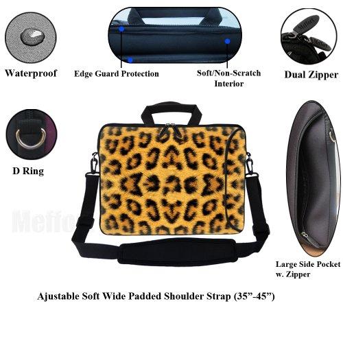 Laptoptasche aus Neopren (15-15,6 Zoll / 38,1-39,6cm), mit Zubehörfach, weichem Tragegriff und abnehmbarem Schultergurt, passt für 39,6 cm (15,6 Zoll) und kleinere Laptops, Farbenfrohes Punktemuster Leopard Prints