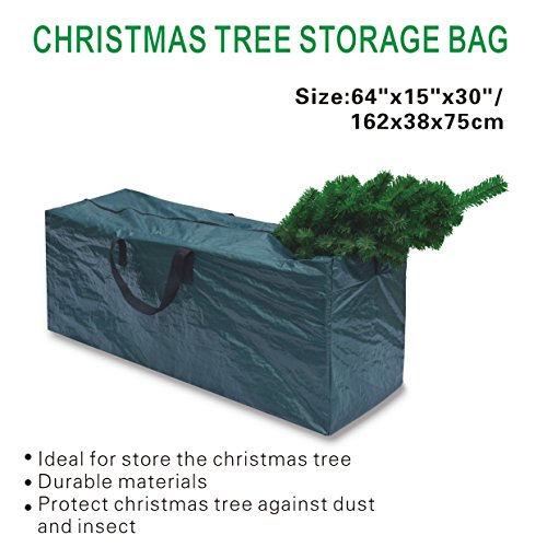 BenefitUSA Artificial Christmas Tree Bag Clean Up Holiday For Up to 8ft/9ft Tree Storage (64''x 15''x 30'' (LxWxH) for up to 9', Green)