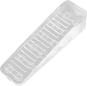Rocky Mountain Goods Clear Wedge Door Stop - Ribbed on Bottom for Extra Grip - Blends in with Any Room - Great for Carpet, Hardwood or Tile