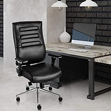 PTO Furniture Executive Office Chair High Back Bonded Leather Desk Chair with Adjustable Armrests and Sliding Spring Seat Black