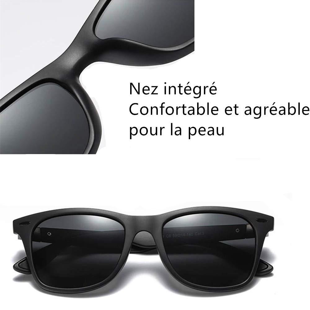 AukCherie Unisex Occhiali da sole polarizzati da Sole Effetto Legno per Uomo e Donna Lenti Colorate a Specchio o Sfumate con Protezione UV 400 (Colore nero)