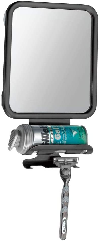 mDesign Shower Shaving Suction Mirror with Shaving Cream and Razor Holder SATIN