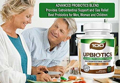 100 Naturals Upbiotics: Advanced Probiotics Blend - Provides Gastrointestinal Support & Gas Relief - Best Probiotics for Men, Women & Children . 60 Biologically stable released capsules.