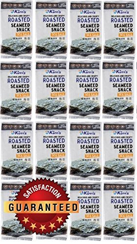 Kim's Premium Natural Roasted Seaweed (Nori) Snack 16 Pack / Sea Salt, No Msg, Low Calorie