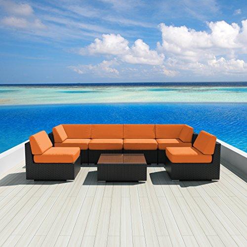Luxxella Patio Wicker Sunbrella Collection Bella 7-Piece Sectional Sofa Set, Orange