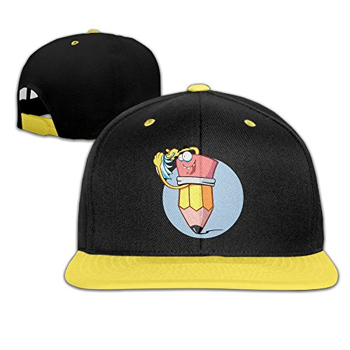 girls-cartoon-pen-and-paper-yellow-adjustable-snapback-hiphop-baseball-caps-one-size