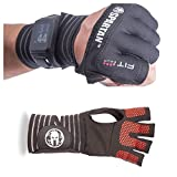 Fit Four Spartan Race OCR Slit Grip Gloves Obstacle Course Racing & Mud Run Hand Protection | Wrist Support with Slit for Fitness Watch (Black/Red, Large)