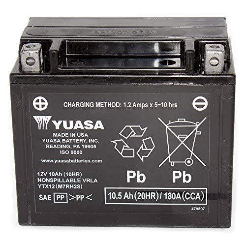 Yuasa 12V 10Ah Power Sports Battery Replaces GTX12-BS, M3RH2S, 44016