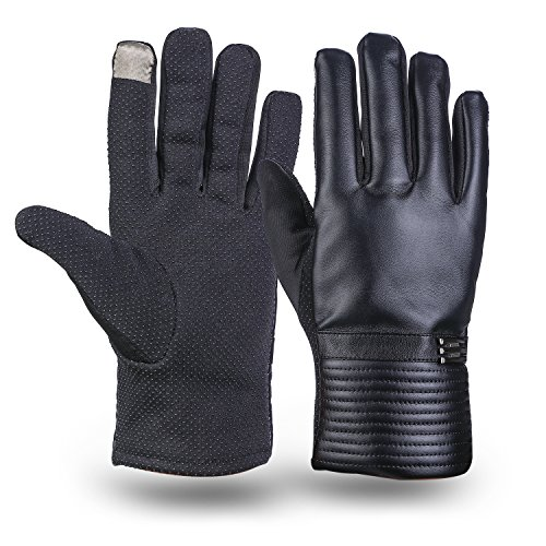 Men Leather Gloves, MEZETIHE Winter Touchscreen Work Texting Lined Gloves With Grip(Ship from US Directly)