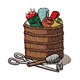 ID 7556 Basket of Sewing Supplies Patch Craft Sew Embroidered Iron On Applique