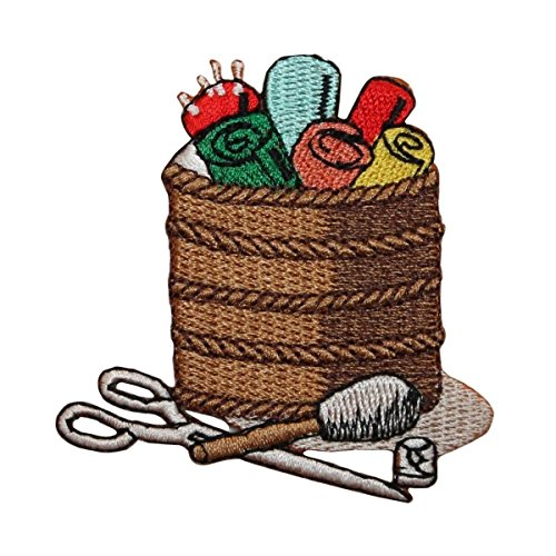 ID 7556 Basket of Sewing Supplies Patch Craft Sew Embroidered Iron On Applique by Mia_you
