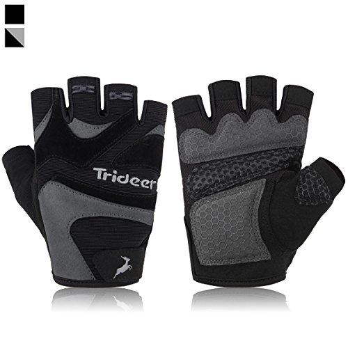 Trideer Ultralight Weight Lifting Gloves with Anti-slip 3-Piece Silica Gel Grip & Adjustable Velcro Strap, Gym Gloves for Workout, Fitness, Cross Training (Grey, M (Fits 7.1-7.9 Inches)) (Men Fitness Gloves)