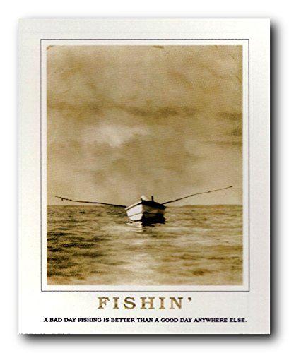 Good Day For Fishing Under Clouds Boat Motivational Wall Decor Art Print Poster (16×20)