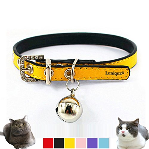 Luniquz Leather Cat Neck Collars with Buckle Bell Crystal Pet Necklace for Kitty Baby Puppy Dogs Non-fading (8.6
