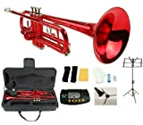 Merano B Flat Red / Silver Trumpet with Case+Mouth Piece+Valve Oil+Metro Tuner+Black Music Stand+Trumpet Stand