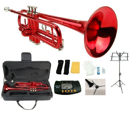 Merano B Flat Red / Silver Trumpet with Case+Mouth Piece+Valve Oil+Metro Tuner+Black Music Stand+Trumpet Stand by Merano