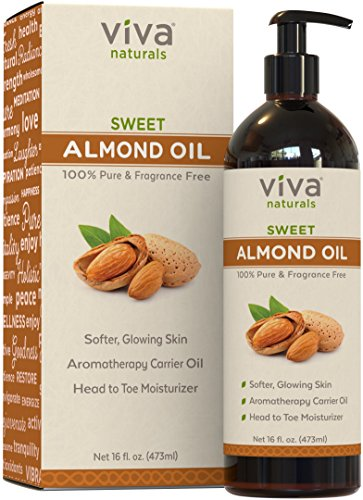 Viva Naturals Sweet Almond Oil 16 fl oz, 100% Pure and Hexane Free, Ideal for Skin and (Almond Sweet Pure Carrier Oil)